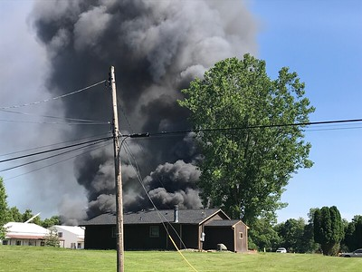 It took first responders at least two hours to get the fire out at Hy-Production on Tuesday. Several fire departments came out to help get the fire under control. ALYSSA ALFANO / GAZETTE