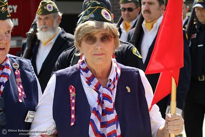 A member of Chico's American Veterans leads the veteran color guard to the the Sept. 11 memorial Thursday, Sept. 11, 2014 at the opening of the Sept. 11 memorial at Chico Fire Station 5 in Chico, California. (Dan Reidel - Enterprise-Record)