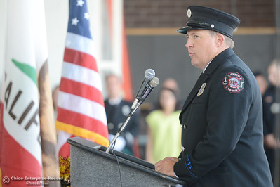 Capt. John Kelso, President of the Firefighters Association speaks during the 9-11 Memorial tribute at Chico Fire Station 5 in Chico, Calif. Thursday Sept. 11, 2014. (Bill Husa - Enterprise-Record)
