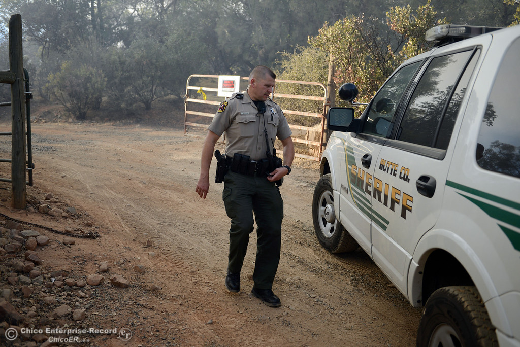 . Butte County Sheriff Deputy J. Nicholaw checks homes in the vicinity of Chinese Wall Road as the Swedes Fire burned along Swedes Flat Road, just east or Oro Bangor Highway Friday, August 16, 2013 in Oroville, Calif. Over 200 acres were burned with at least one structure lost. (Jason Halley/Chico Enterprise-Record)