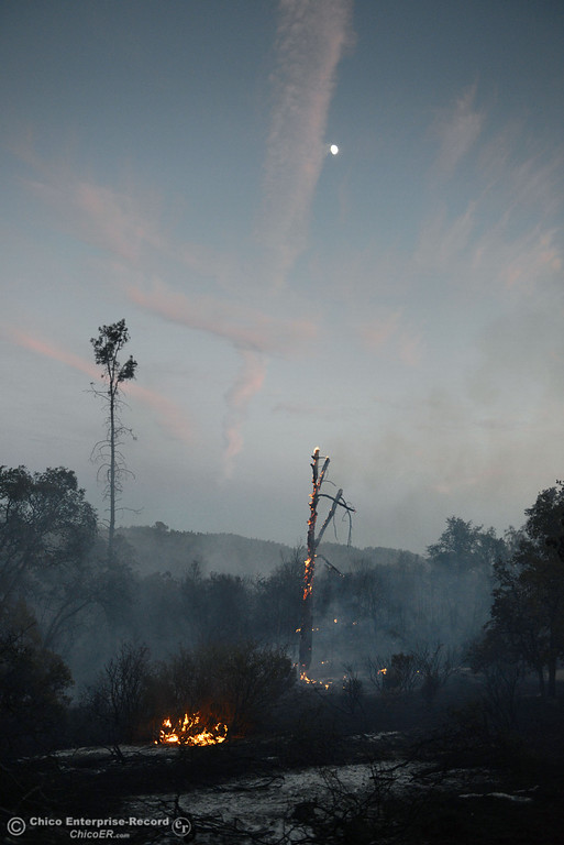 . The moon begins to shine over the Swedes Fire that burned along Swedes Flat Road, in the vicinity of Chinese Wall Road, just east or Oro Bangor Highway Friday, August 16, 2013 in Oroville, Calif. Over 200 acres were burned with at least one structure lost. (Jason Halley/Chico Enterprise-Record)