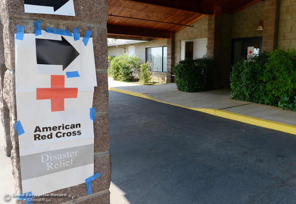 . A Red Cross evacuation center was set up at Church of the Nazarene for mandatory evacuation areas around the Swedes Fire southeast of Oroville that were expanded just after noon Saturday, August 17, 2013 in Oroville, Calif.  (Jason Halley/Chico Enterprise-Record)