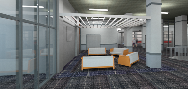 A gathering area in First Baptist Church of Tyler's new Student Life Center and multipurpose space is pictured here in an architectural rendering. The church's downtown campus is renovating the first floor of its Recreation Building to create this space in order to better serve a growing youth ministry and the church as a whole. Courtesy