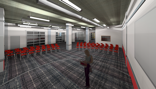 A meeting room in First Baptist Church of Tyler's new Student Life Center and multipurpose space is pictured here in an architectural rendering. The church's downtown campus is renovating the first floor of its Recreation Building to create this space in order to better serve a growing youth ministry and the church as a whole. Courtesy