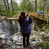 KRISTOPHER RADDER — BRATTLEBORO REFORMER<br /> Coutney Hodge, of Hinsdale, N.H., takes a photo of her friends and family as they hike the Doolittle Trail at Pisgah State Park, in Winchester, N.H., during New Hampshire's First Day Hike on Jan. 1, 2019.  Hodge said they saw the event on Facebook and thought it was a beautiful day for a hike.