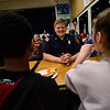 KRISTOPHER RADDER - BRATTLEBORO REFORMER<br /> Brattleboro Fire Fighter Tim Sikorsky sits with a group of students from Oak Grove Elementary during the second annual First Responders BBQ Lunch on Wednesday, Feb. 14, 2018.