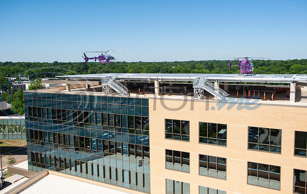 Two Flight For Life helicopters land during test flights on the new dual helipad at the new Bradley-Thompson Tower at Christus Mother Frances Hospital – Tyler on Thursday morning, April 30, 2020. The new tower will house the emergency room, and the new helipad will provide quicker, more efficient access for patients arriving by Flight for Life.