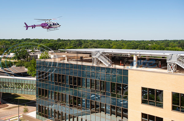 A Flight For Life helicopter comes in for landing during test flights on the new dual helipad at the new Bradley-Thompson Tower at Christus Mother Frances Hospital – Tyler on Thursday morning, April 30, 2020. The new tower will house the emergency room, and the new helipad will provide quicker, more efficient access for patients arriving by Flight for Life.