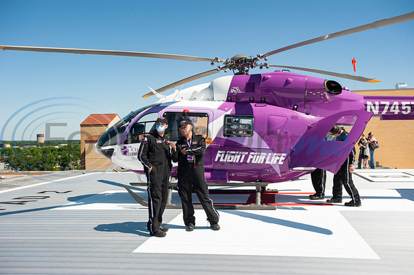 Flight nurses Eric Brabon and Paul Wheeler arrived on two Flight For Life helicopter test flights on the new dual helipad at the new Bradley-Thompson Tower at Christus Mother Frances Hospital – Tyler on Thursday morning, April 30, 2020. The new tower will house the emergency room, and the new helipad will provide quicker, more efficient access for patients arriving by Flight for Life.