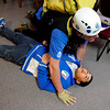 """Rocky Mountain Rescue member Scott Koski, works to administer first aid to Marcus Kassem, 14, of Boulder,  during a Fourmile flood training exercise on Saturday, April 16, at the Boulder Mountain Lodge in Boulder county.<br /> For more photos and video go to  <a href=""""http://www.dailycamera.com"""">http://www.dailycamera.com</a><br /> Jeremy Papasso/ Camera"""