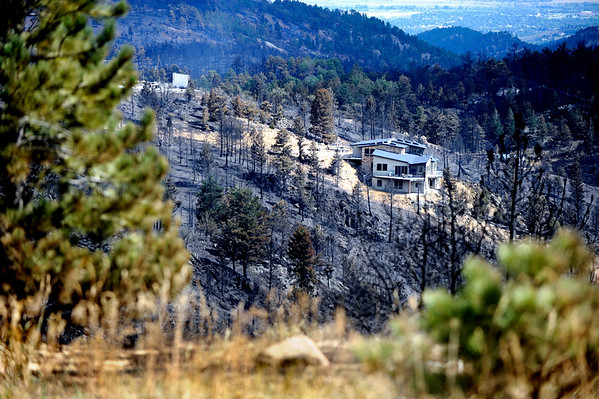 Charred ground and trees surround a home that has survived  the Fourmile Canyon fire in Boulder, Colorado September 9, 2010.  The fire his destroyed over 100 home and structures since Monday.  CAMERA/Mark Leffingwell (POOL)