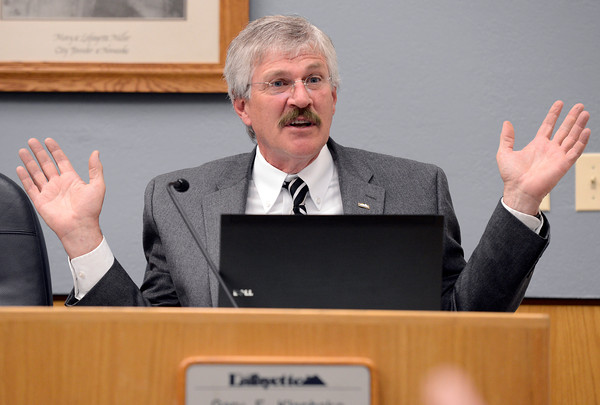 Lafayette City Administrator Gary Klaphake speaks to the crowd about fracking within Lafayette city limits during a city council meeting on Tuesday, March 5, at the Lafayette City Hall.<br /> Jeremy Papasso/ Camera