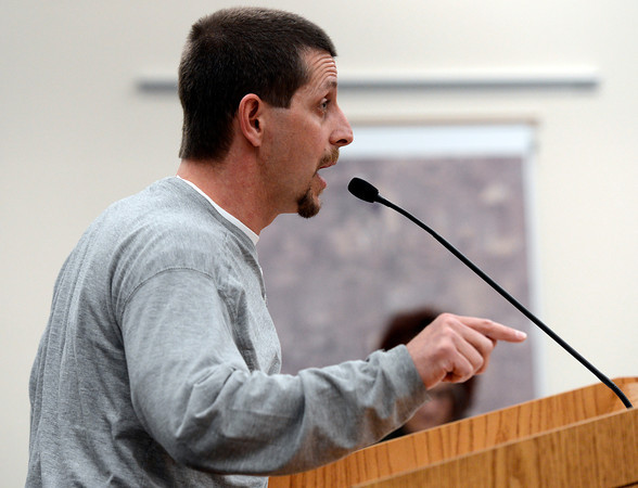 Lafayette resident Cliff Willmeng expresses his concerns about fracking within city limits during a city council meeting on Tuesday, March 5, at the Lafayette City Hall.<br /> Jeremy Papasso/ Camera