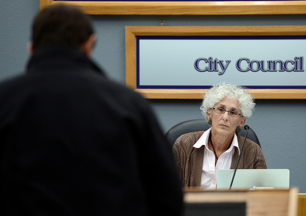 Lafayette Mayor Carolyn Cutler listens as Scott Papich, of Lafayette, expresses his concerns about fracking during a city council meeting on Tuesday, March 5, at the Lafayette City Hall.<br /> Jeremy Papasso/ Camera