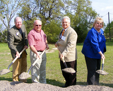 From left to right: Weatherford Mayor Dennis Hooks joins Freedom House Treasurer Leo Neely, Freedom House President Glen Wilson and Freedom House Executive Director Chatherine Tietjen at the ceremonial ground breaking of Freedom House's new facility.