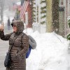 BEN GARVER — THE BERKSHIRE EAGLE<br /> Claudia Gallant of Sandiego takes a video as the snow begins to fall in Stockbridge, Friday, December 6, 2019. Gallant is visiting for the weekend to see Stockbridge Main Street at Christmas.