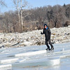 KRISTOPHER RADDER - BRATTLEBORO REFORMER<br /> Joe Madison, of Brattleboro, ice skates around the ice heaves at the Retreat Meadows on Monday, Jan. 15, 2018.