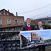KRISTOPHER RADDER — BRATTLEBORO REFORMER<br /> Bob Stevens, of Stevens and Associates, and Danny Lichtenfeld, the director of the Brattleboro Museum and Art Center, stand above the Whetstone Brook at Bridge Street. The pair hope to bring new housing and gallery space to the downtown area.