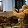 KRISTOPHER RADDER — BRATTLEBORO REFORMER<br /> Lynn Barrett takes a photo of the new building design for the Brattleboro Museum and Arts Center during an announcement ceremony on Tuesday, Nov. 19, 2019.