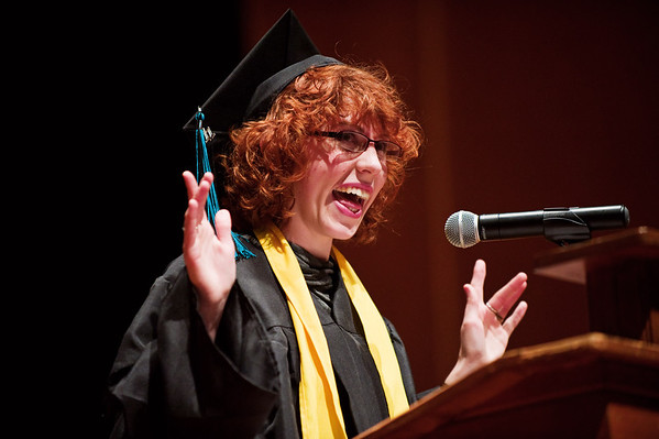 N0529NEWVISTA7.jpg N0529NEWVISTA3<br /> Josie Brown has a laugh with the audience about how her cap kept falling off while delivering her speech during the New Vista High School graduation ceremony held at Chautauqua auditorium on Saturday May 28th, 2011.<br /> <br /> Photo by: Jonathan Castner