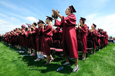 20110528_SCHS_5.jpg The Silver Creek High School class of 2011 gives retiring principal Sherri Schumann a standing ovation following her closing remarks during graduation Saturday, May 28, 2011. (Joshua Buck/Times-Call)