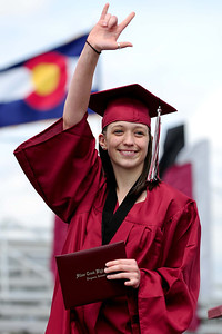 20110528_SCHS_10.jpg Silver Creek graduate Jenny Friesner celebrates after receiving her diploma Saturday, May 28, 2011. (Joshua Buck/Times-Call)