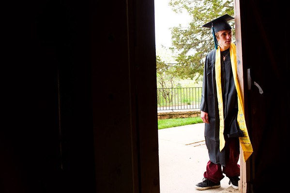 N0529NEWVISTA4.jpg N0529NEWVISTA4<br /> Robert England-Horan waits for the start of the New Vista High School graduation ceremony held at Chautauqua auditorium on Saturday May 28th, 2011.<br /> <br /> Photo by: Jonathan Castner
