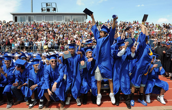 20110528_LHS_GRAD_9.jpg Graduates start the wave after receiving their diplomas during commencement Saturday May 28, 2011 at Longmont High School. (Lewis Geyer/Times-Call)