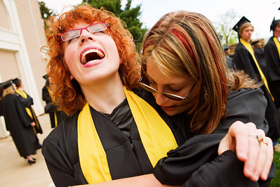 N0529NEWVISTA3.jpg N0529NEWVISTA3 L-R: Josie Brown is hugged by Emily Holtman before the start of the New Vista High School graduation ceremony held at Chautauqua auditorium on Saturday May 28th, 2011.  Photo by: Jonathan Castner