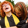N0529NEWVISTA3.jpg N0529NEWVISTA3<br /> L-R: Josie Brown is hugged by Emily Holtman before the start of the New Vista High School graduation ceremony held at Chautauqua auditorium on Saturday May 28th, 2011.<br /> <br /> Photo by: Jonathan Castner