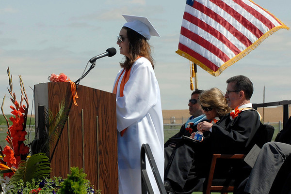 20110528_ERIE_GRAD_4.jpg Krista Behr gives the parent speech during commencement Saturday May 28, 2011 at Erie High School. (Kimberli Turner/Times-Call)