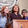 Gov. Susana Martinez introduces Kendal Sanders,14, and Nathaniel Tavarez,13, the two students who were shot at school in Roswell, NM, at the end of her  state of the state speech during the 52nd Legislature opening day on Tuesday, January 20, 2015.  jane Phillips/The New Mexican