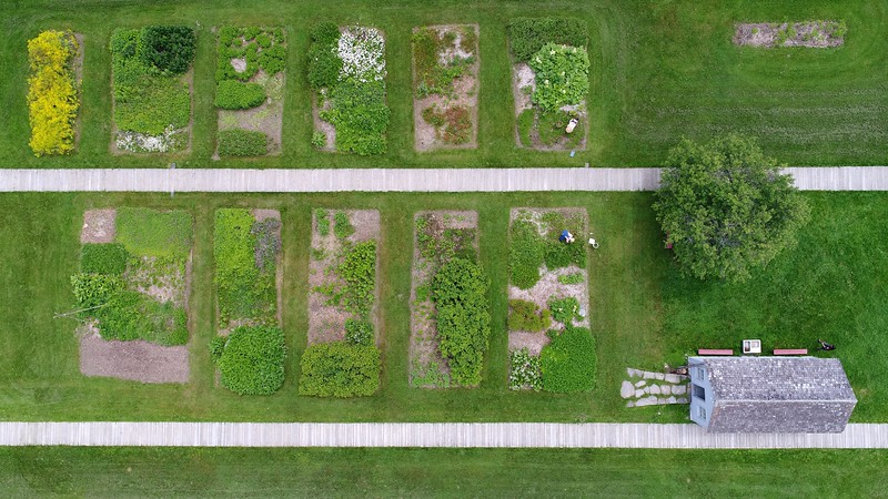 BEN GARVER — THE BERKSHIRE EAGLE<br /> The gardens at Hancock Shaker Village take shape for the season.  The larger gardens are for growing produce and the smaller gardens by the wooden paths are for herbs.