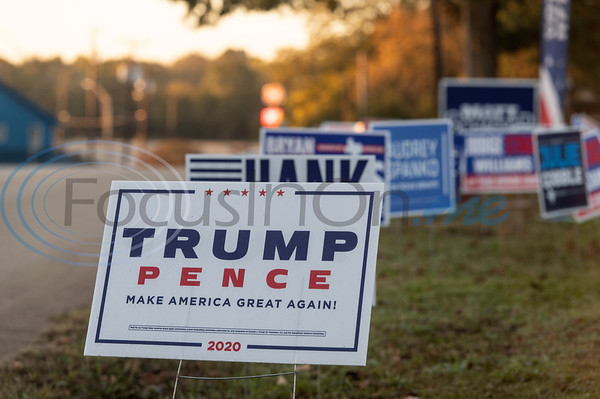 Election signs for various candidates line the fence around Flint Baptist Church, one of 35 voting centers in Smith County on Tuesday, Nov. 3, 2020. Smith County citizens could vote at any of the 35 Smith County polling locations on Election Day.