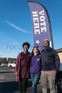 """Nancy and Jesse Thomas of Bullard brought their daughter Alivia Thomas, 12, to the polls as they voted at Bullard Southern Baptist Church on Tuesday, Nov. 3, 2020. Smith County citizens could vote at any of the 35 Smith County polling locations on Election Day. The family waited outside before doors opened at 7 a.m. with around 20 others. """"It was smooth sailing once the machines were up and running,"""" said Nancy Thomas."""