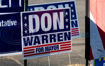 A Don Warren for mayor sign is posted outside of the WorkHub voting location in Tyler on Tuesday, Nov. 3, 2020. Smith County citizens could vote at any of the 35 Smith County polling locations on Election Day.