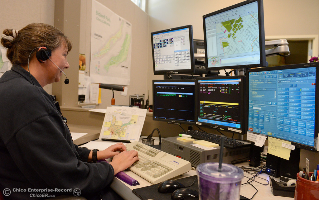 . Public Safety dispatcher Rochelle Finkbiner, works in the Chico Police and Fire Dispatch Center located at the Chico Police Dept. in Chico, Calif. Wed. April 16, 2014. Being a dispatcher is a stressful job. They\'re the people who take all of the 911 calls, coordinate assistance to people who call, keep the officers safe and oversee how the Cico Police Department operates. (Bill Husa - Enterprise-Record)