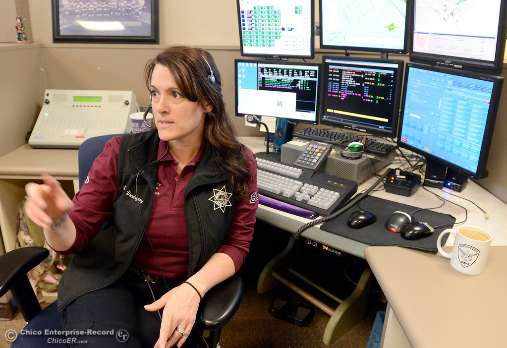 . Public Safety dispatcher Denise Dominguez, works in the Chico Police and Fire Dispatch Center located at the Chico Police Dept. in Chico, Calif. Wed. April 16, 2014. Being a dispatcher is a stressful job. They\'re the people who take all of the 911 calls, coordinate assistance to people who call, keep the officers safe and oversee how the Cico Police Department operates. (Bill Husa - Enterprise-Record)