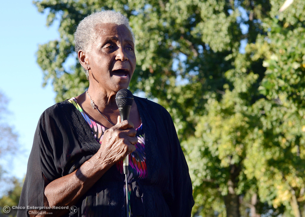 . Dorothy Johnson speaks to the community that came out to remember the 50th Anniversary of the Martin Luther King Jr. March on Washington by marching from the Dorothy Johnson Center to Community Park on Wednesday, August 28, 2013 in Chico, Calif.  (Jason Halley/Chico Enterprise-Record)