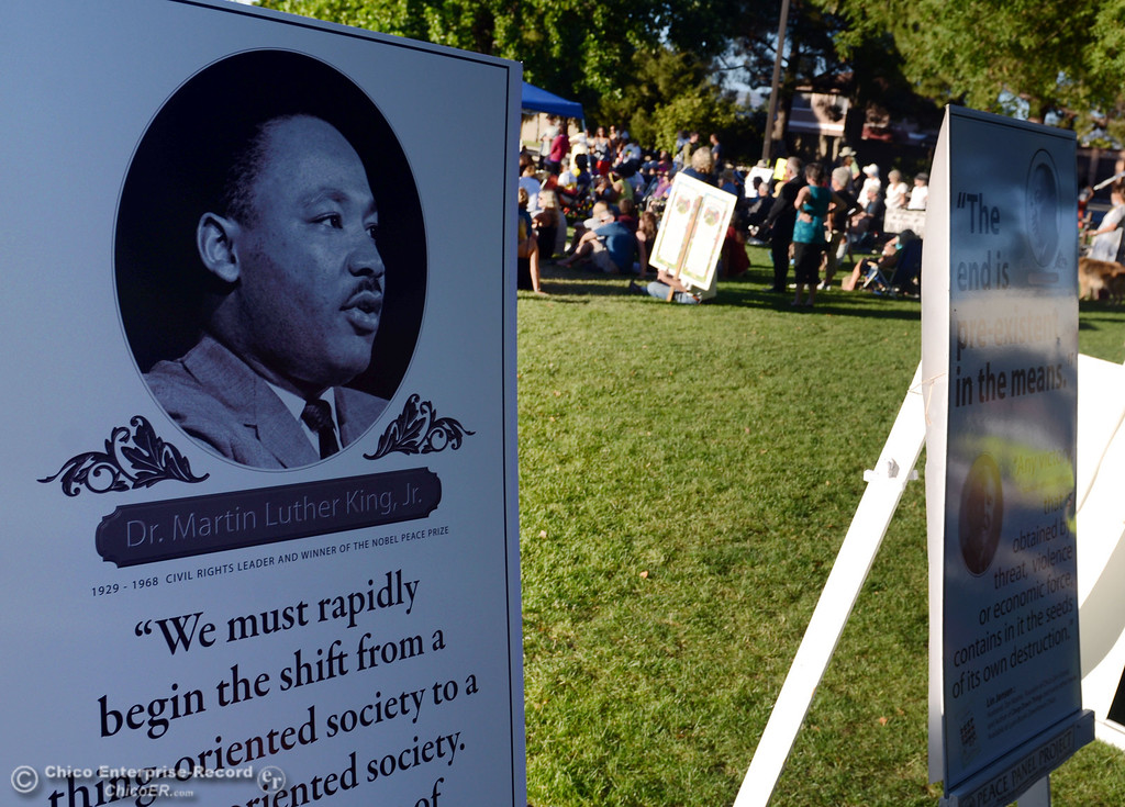 . The community came out to remember the 50th Anniversary of the Martin Luther King Jr. March on Washington by marching from the Dorothy Johnson Center to Community Park on Wednesday, August 28, 2013 in Chico, Calif.  (Jason Halley/Chico Enterprise-Record)