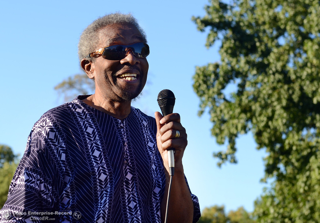 . Joe Person speaks to the community that came out to remember the 50th Anniversary of the Martin Luther King Jr. March on Washington by marching from the Dorothy Johnson Center to Community Park on Wednesday, August 28, 2013 in Chico, Calif.  (Jason Halley/Chico Enterprise-Record)