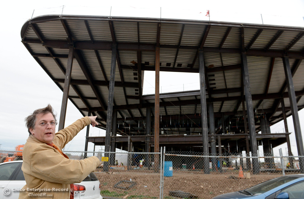 . Rich Holst, Assistant Court Executive Officer points toward a large skylight area of the building as he talks with a reporter during construction of the new North Butte County Courthouse located off of Bruce Road at 1701 Concord Ave. in Chico, Calif. Wednesday Jan. 29, 2014.  (Bill Husa/Staff Photo)