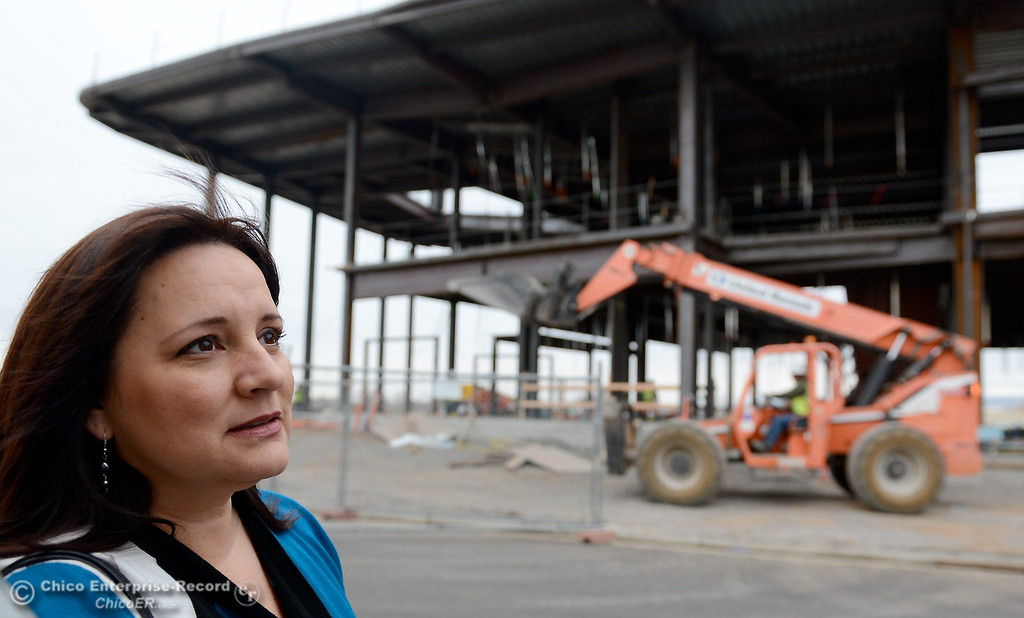 . Court Executive Officer Kimberly Flener talks with a reporter during construction of the new North Butte County Courthouse located off of Bruce Road at 1701 Concord Ave. in Chico, Calif. Wednesday Jan. 29, 2014.  (Bill Husa/Staff Photo)