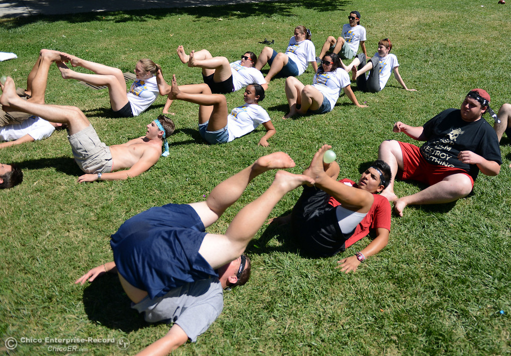. Chico State students play games as alternative activities to floating on the Sacramento River for Labor Day at the Wildcat Challenge event on the lawn between Lassen Hall and Sutter Hall on the Chico State Campus Saturday, August 31, 2013 in Chico, Calif.  (Jason Halley/Chico Enterprise-Record)