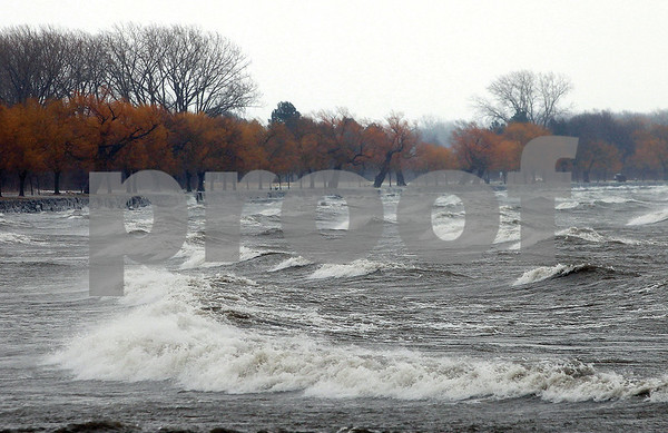Spencer Tulis/Finger Lakes Times The whitecaps seen at the north end of Seneca Lake Tuesday looked more like those in an ocean than in one of the Finger Lakes.