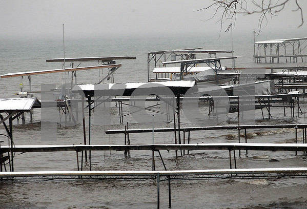 Spencer Tulis/Finger Lakes Times Docks remain idle along the west side of Seneca Lake in Yates County as winter brings far less activity on and around the water.