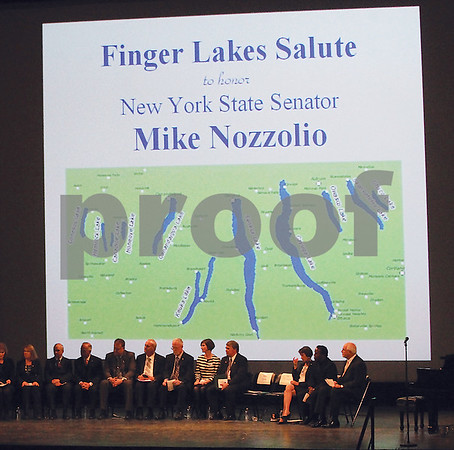 Spencer Tulis/Finger Lakes Times A Finger Lakes Salute to honor outgoing state Sen. Mike Nozzolio at The Smith Center for the Arts Wednesday featuring a long list of individuals and organizations who offered kind words of praise.