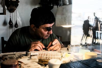 A watchmaker repairs a watch in Kutaisi, Georgia.