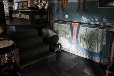 Believers crawl under the church alter in the 8th century Georgian Orthodox Motsameta Monastery which serves as the final resting place of brothers, national heroes and saints Davit and Konstantin Mkheidze, dukes of Argveti, killed in an 8th century Arab massacre. Their skulls are believed to be in a casket in the church and tradition guarantees wishes will be granted if you crawl three times under their tomb in the church without touching it.