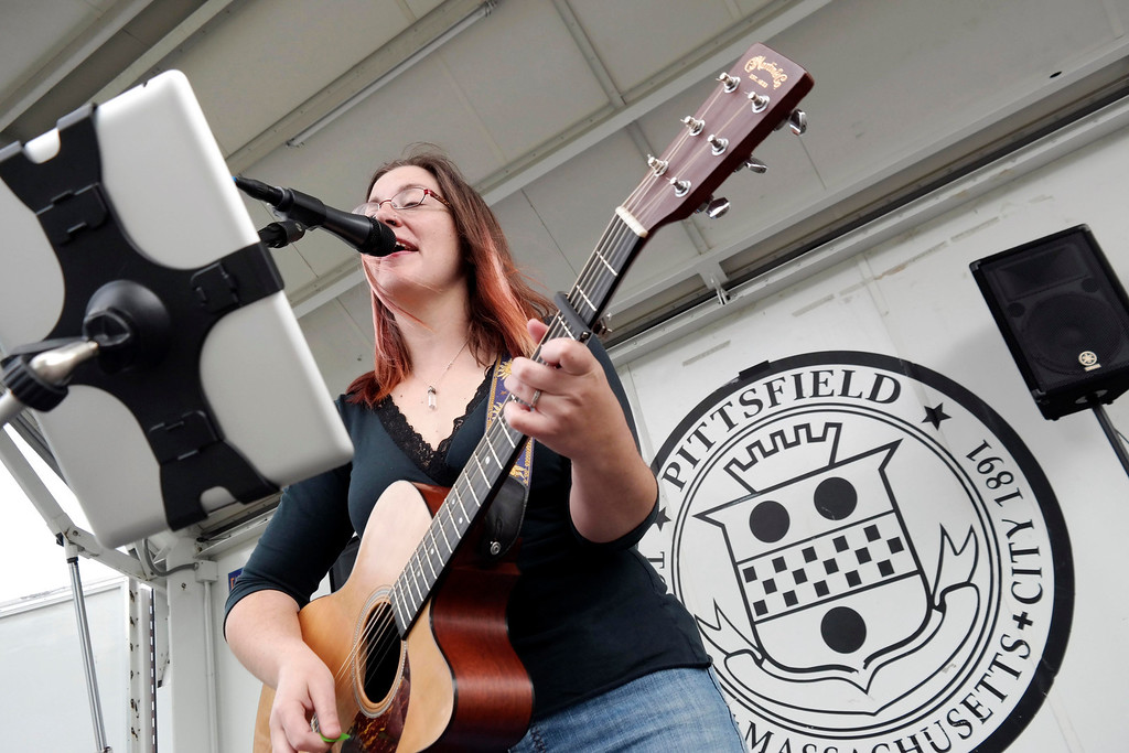 . Erin Laundry sings at Springside Park in Pittsfield as people arrive for the days festivities. Saturday June 14, 2014.  Ben Garver / Berkshire Eagle Staff / photos.berkshireeagle.com
